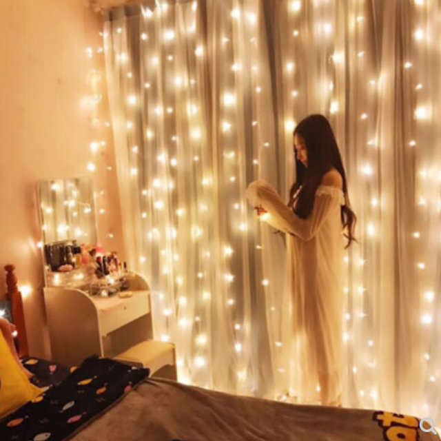 LED Curtain String Lights 3Mx3M 300leds 220v Xmas fairy light For Home Wedding/Party/Curtain/Mall/Anchor Background Decoration