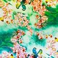 100% Lenço De Seda Das Mulheres Cachecol Xale de Seda Borboleta Orquídea 2017 designer de Lenço De Seda Pashmina Longo Flor Envoltório De Seda De Luxo Senhora presente