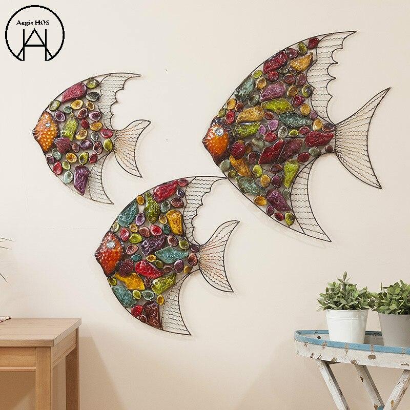 Produit de fer Animal tenture murale forme de poisson décoration murale TV décorations murales décor à la maison ornements muraux