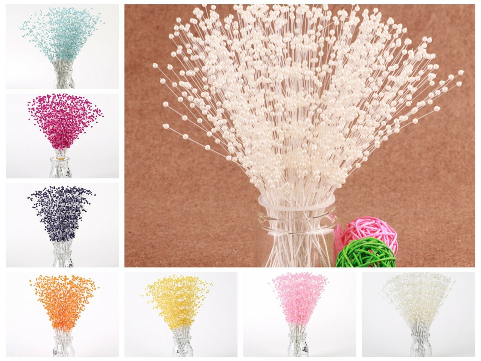 100 Bunch Pearl Flower Stem Beads Garland Sprays Bridal Bouquet Wedding Party