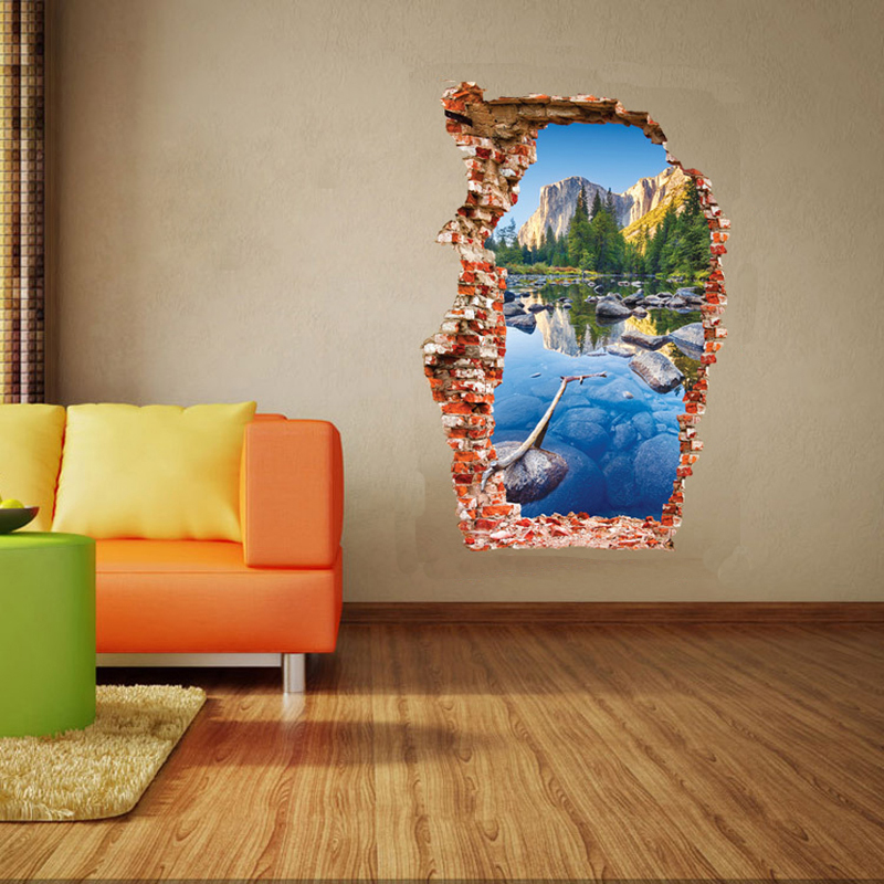 Breaken Wall 3D Wall Stickers Colorful Pond Home Decoration living room background Mountain Scenery Broken Hole The Door Sticker