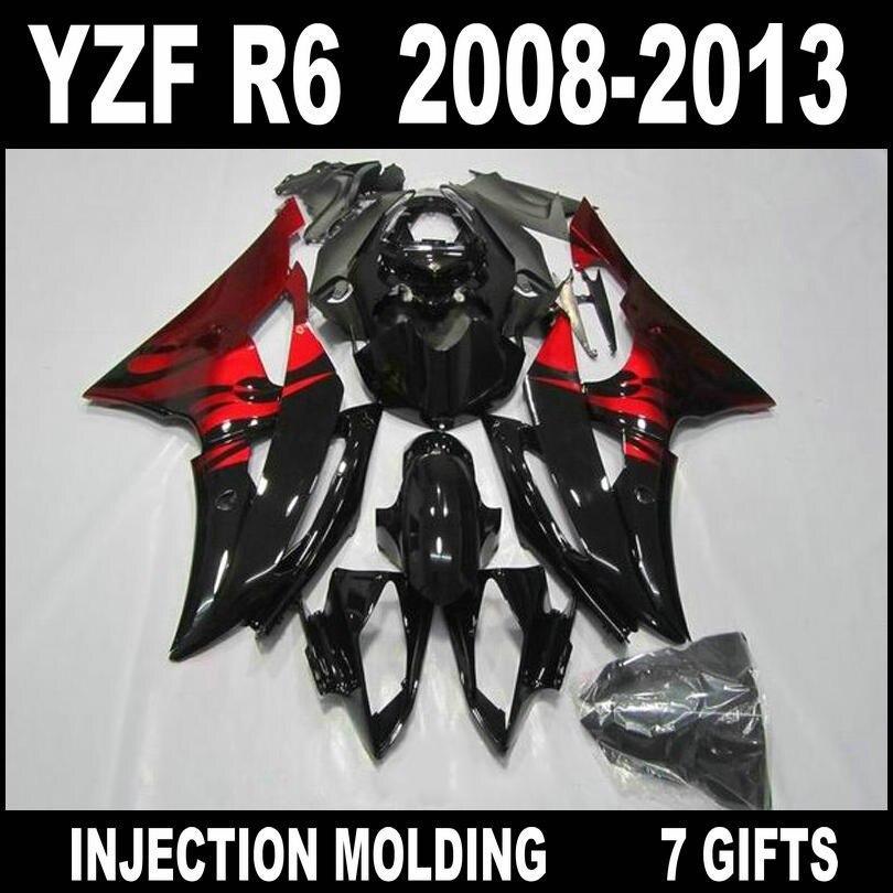 7 подарки Обтекатели для 2008 2009 2010 2011 2012 2013 Yamaha R6 комплект обтекателей 08 09 10 11 12 13 Красный плоский черный YZF R6 части тела