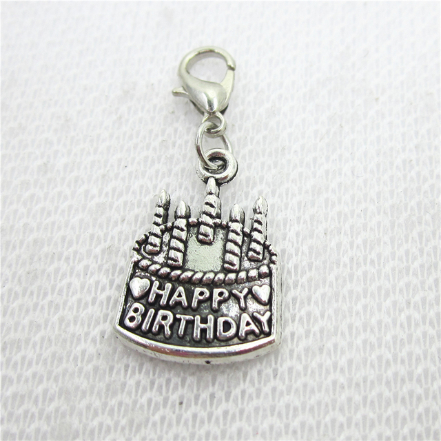 50pcslot Happy Birthday Cake Charms Dangle Charms Lobster Clasp