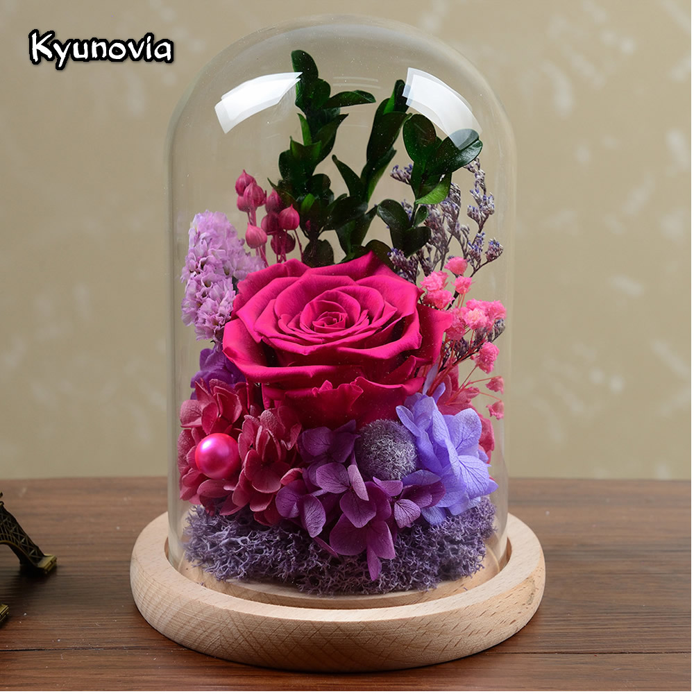 Kyunovia Beautiful Red Rose Flower Fresh Preserved Valentines Day Birthday Gift Real Roses Home Decoration Creative Gift KY109