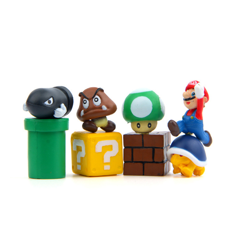 8pcs/lot Diy Super Mario Bros Action Figure Toys Mario Bullet Mushroom Tortoise Wall Well Pvc Figure Model Toys Home Decoration Action & Toy Figures