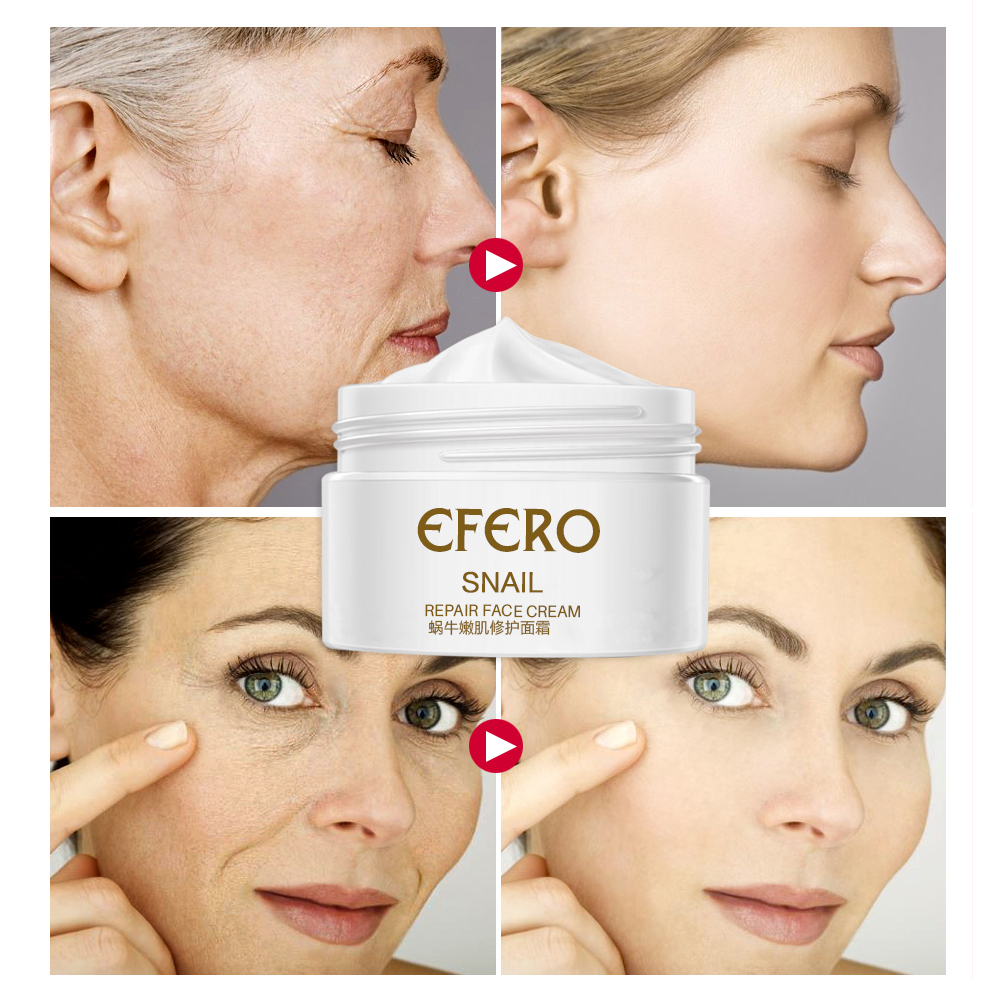 efero Snail Face Cream Whitening Anti-wrinkle +Argireline Serum Instantly Ageless +Gold Eye Mask &Crystal Lip Mask Skin Care Set 4