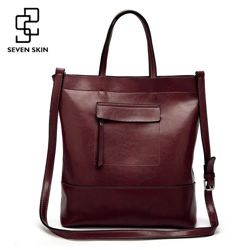 SEVEN SKIN Brand 2017 Solid Leather Women Tote Bags Female Fashion Bucket Women's Shoulder Bag Big Handbag Large Capacity Bags high quality leather women bag bucket shoulder bags solid big women handbag set large capacity tote bolsas feminina famous brand