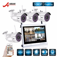 ANRAN P2P CCTV 1080P 4CH NVR 12 Inch LCD Monitor 4PCS 36 IR Out of doors IP WIFI Digicam Surveillance Safety Wi-fi System Package
