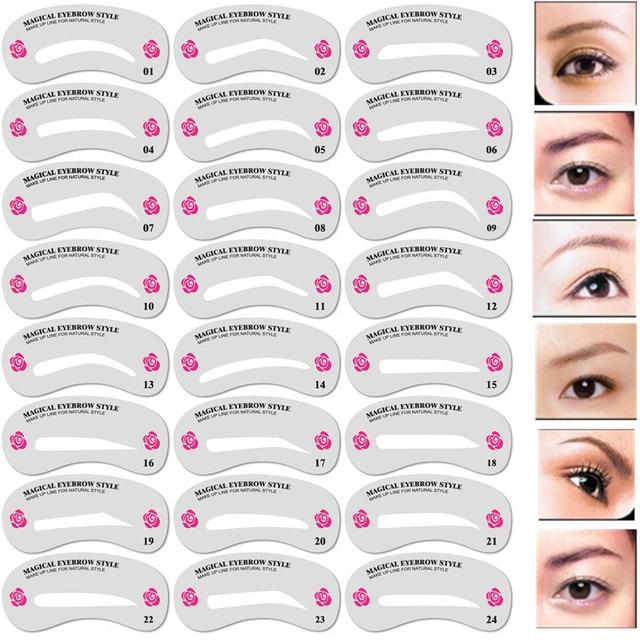 24 Pcs Pro Reusable Eyebrow Stencil Set Eye Brow Diy Drawing Guide