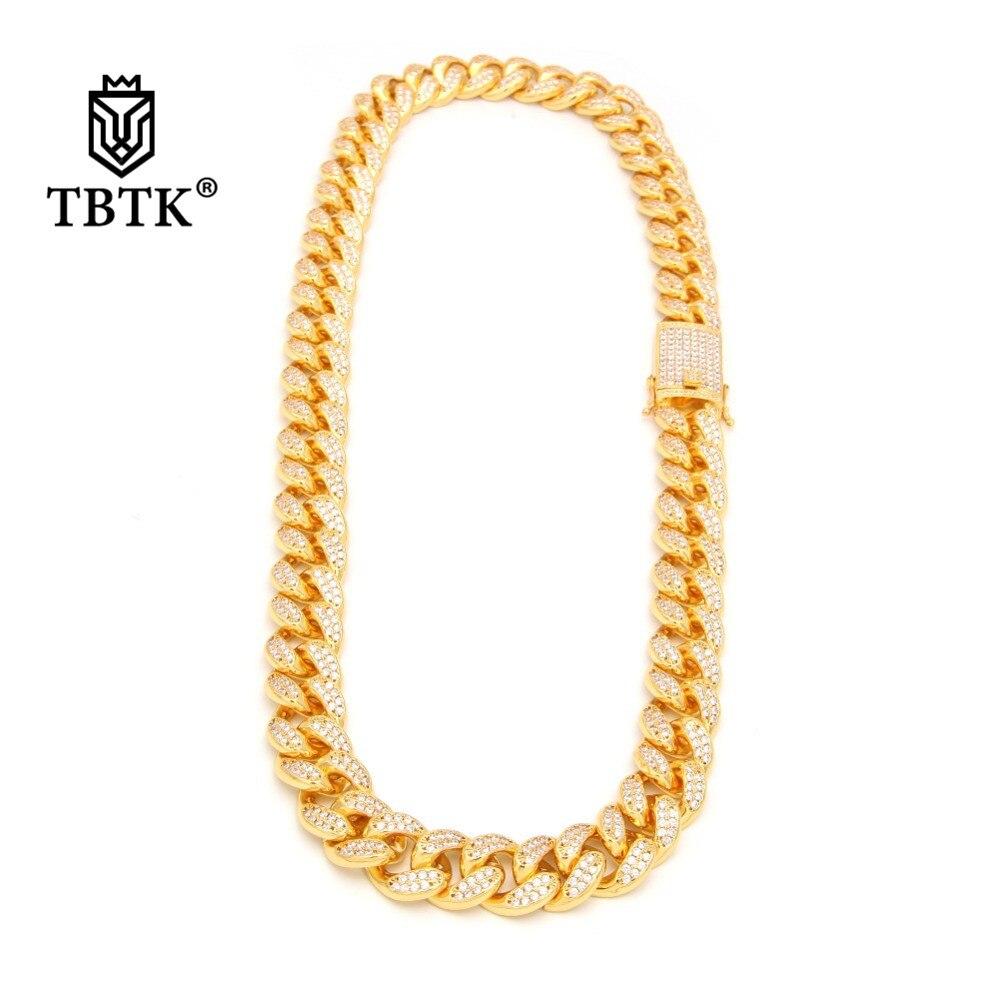 TBTK 20mm largeur or lourd collier pavé plein de Bling Zircon cristal collier géométrique lien cubain collier pour homme Style Punk