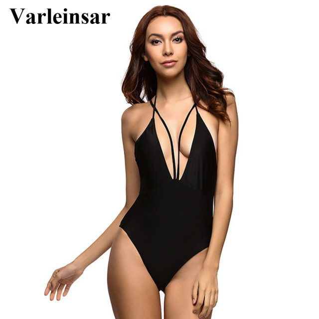 5f37ad7649 Black Sexy Deep V neck Low Back Backless Monokini 2019 One Piece Swimsuit  Women Swimwear Female Bather Bathing Suit Swim V224