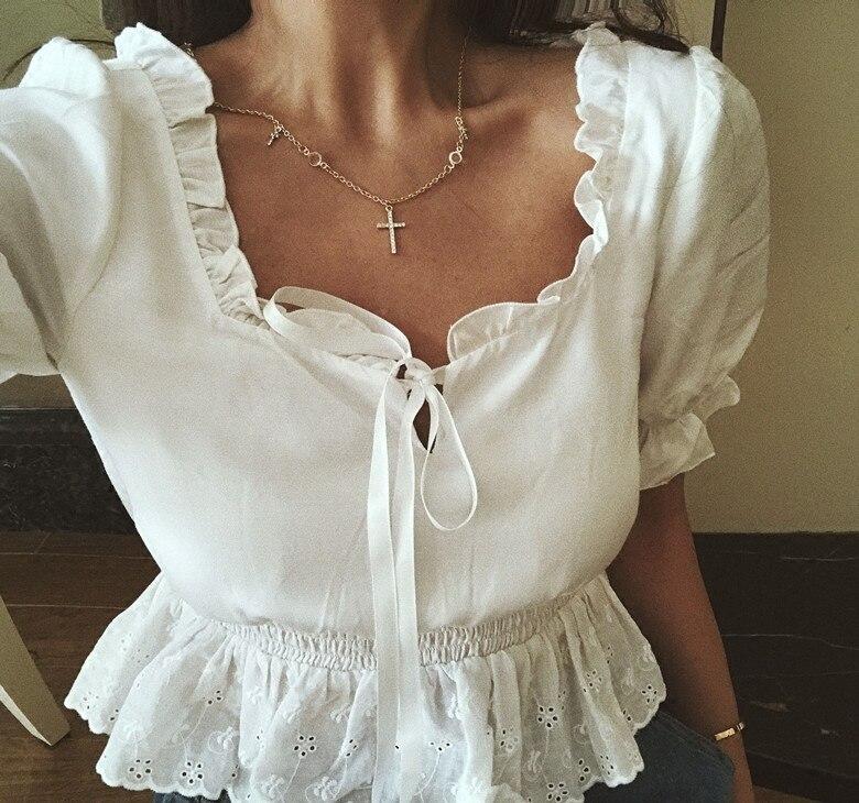 2018 nouveauté offre spéciale coton court Blouse haut pour femme 2018 été Style Baroque français bouffée manches taille poitrine chemise femme