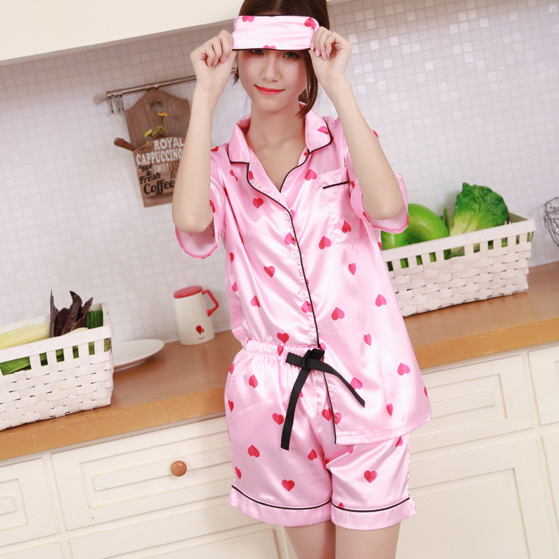 4c5133367b Aliexpress.com   Buy Asian Size Pyjamas Women Soft Silk Pajamas Set Girls  Cute Heart Printed Sleepwear Nightwear Sleep Mask pijamas de las mujeres  from ...