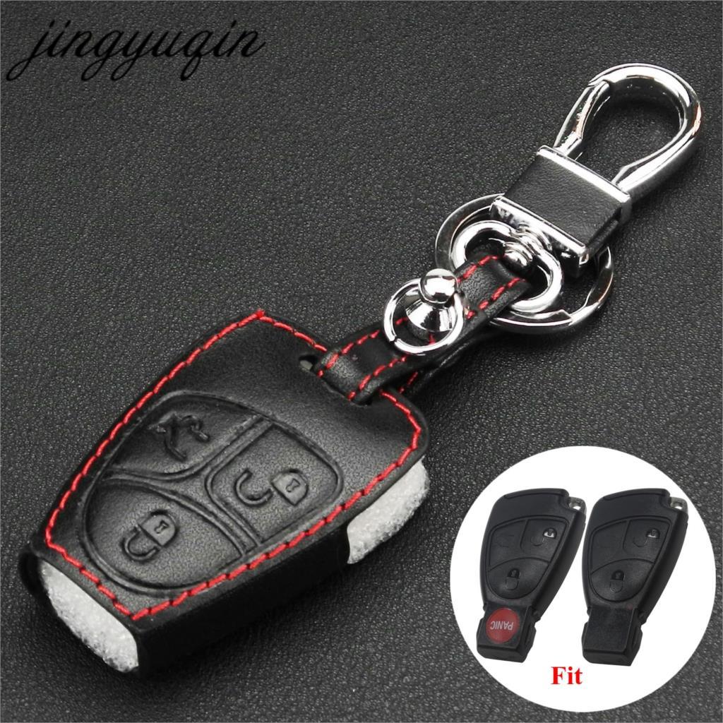 Jingyuqin حافظة مفاتيح من الجلد عن بعد لمرسيدس بنز A C E S ML CLK SLK CLS الفئة مفتاح فوب واقية حامل سلسلة مفاتيح حقيبة