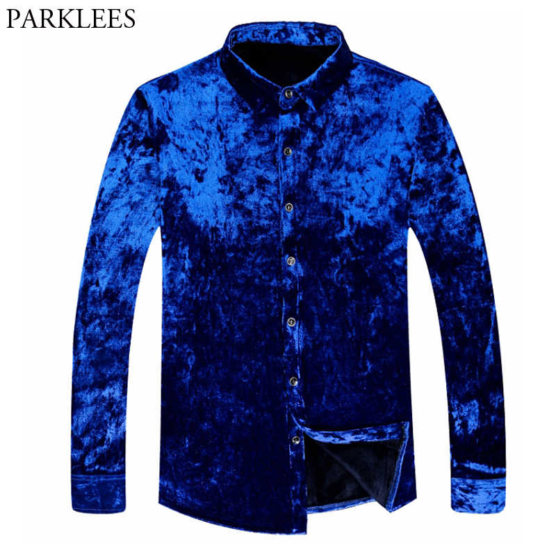 324e4182eb2 Trend Royal Blue Velvet Shirt Men 2018 Winter New Slim Fit Flecce Lined  Dress Shirts Mens