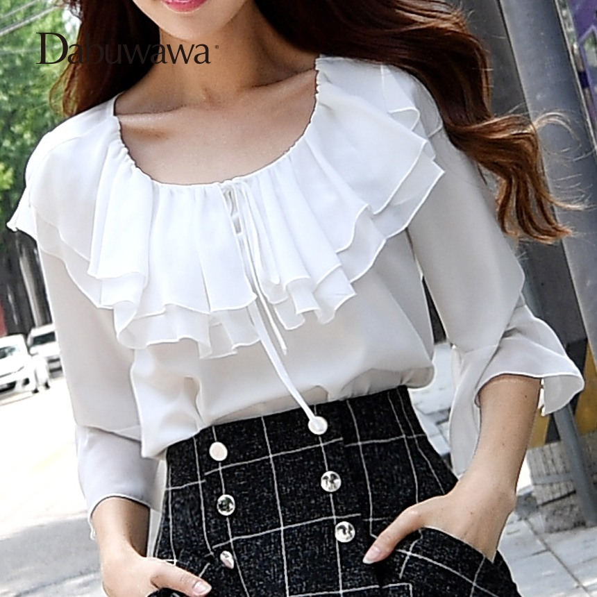 Dabuwawa Fashion Branded Blouse Casual Tops For Ladies Chiffon Ruffle Shirt White Chiffo ...