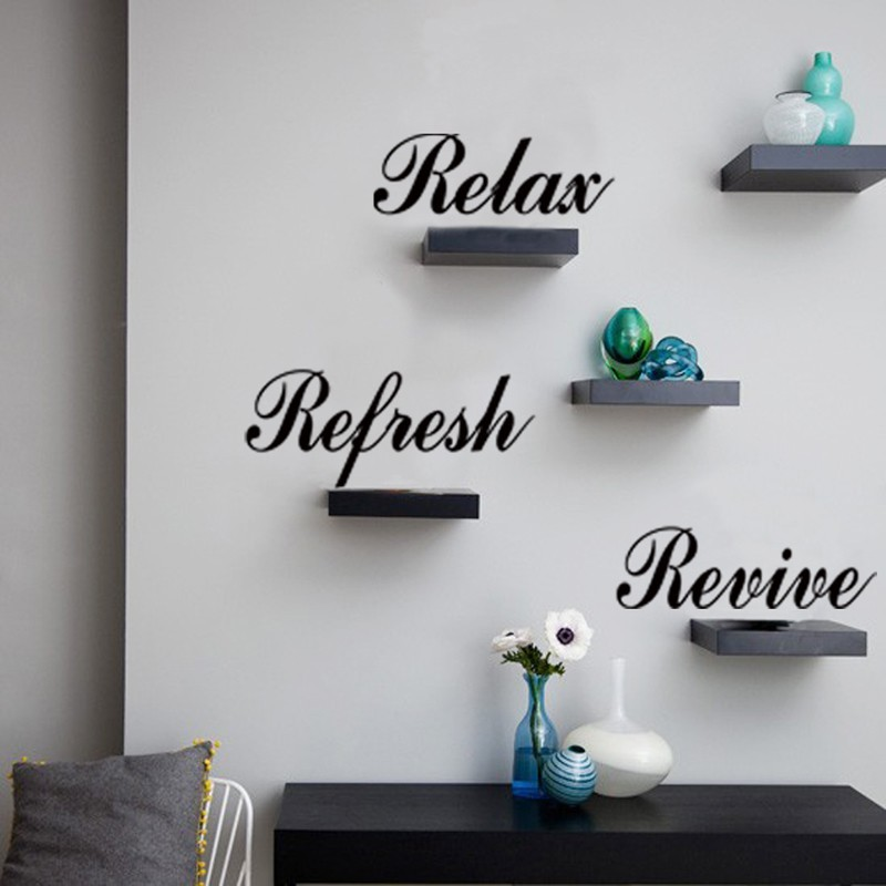 relax refresh revive english quotes wall stickers decal kids room bedroom home decoration vinyl 3d