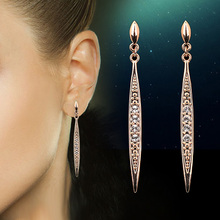 Vintage Cubic Zirconia Stud Earrings Wholesale Silver Rose Gold Color Fashion Crystal Wedding Jewelry For Women