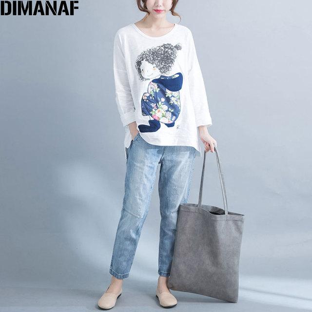 566d1c47342 DIMANAF Women T-Shirt Autumn Plus Size Cotton Cartoon Pattern Print Casual  Fashion Loose White