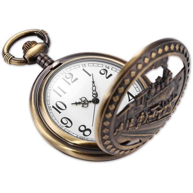 Vintage Copper Steam Train Hunter Pocket Watch