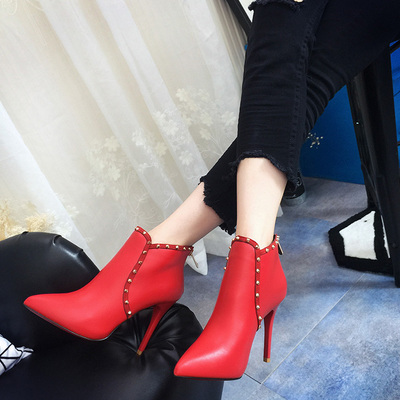 ФОТО 2016 fashion rivet boots female high-heeled pointed toe thin heels leather boots single boots red wedding shoes