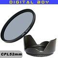 52mm CPL C PL Lens Filter + 52mm Lens Hood Filters kit  for Canon 18-55 Nikon d3100 d5100 50/1.8D lente Filtro (2pcs/1lot)