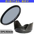 52mm CPL C PL Lentes con Filtro 52mm Parasol kit de filtros para canon 18-55 nikon d3100 d5100 50/1. 8d lente Filtro (2 unids/1 lote)