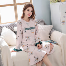 fb825527e3 Women s Long Sleeve Ruffle sleeve 100% cotton Sleep dress Leisure home  service print Nightdress Causal Sleepwear girl Nightwear