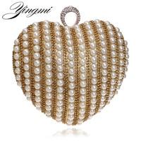 Newest Hot Selling Women Bag Factory Price Evening Bag Wedding Beaded Handbags Rhinestones Finger Rings Heart