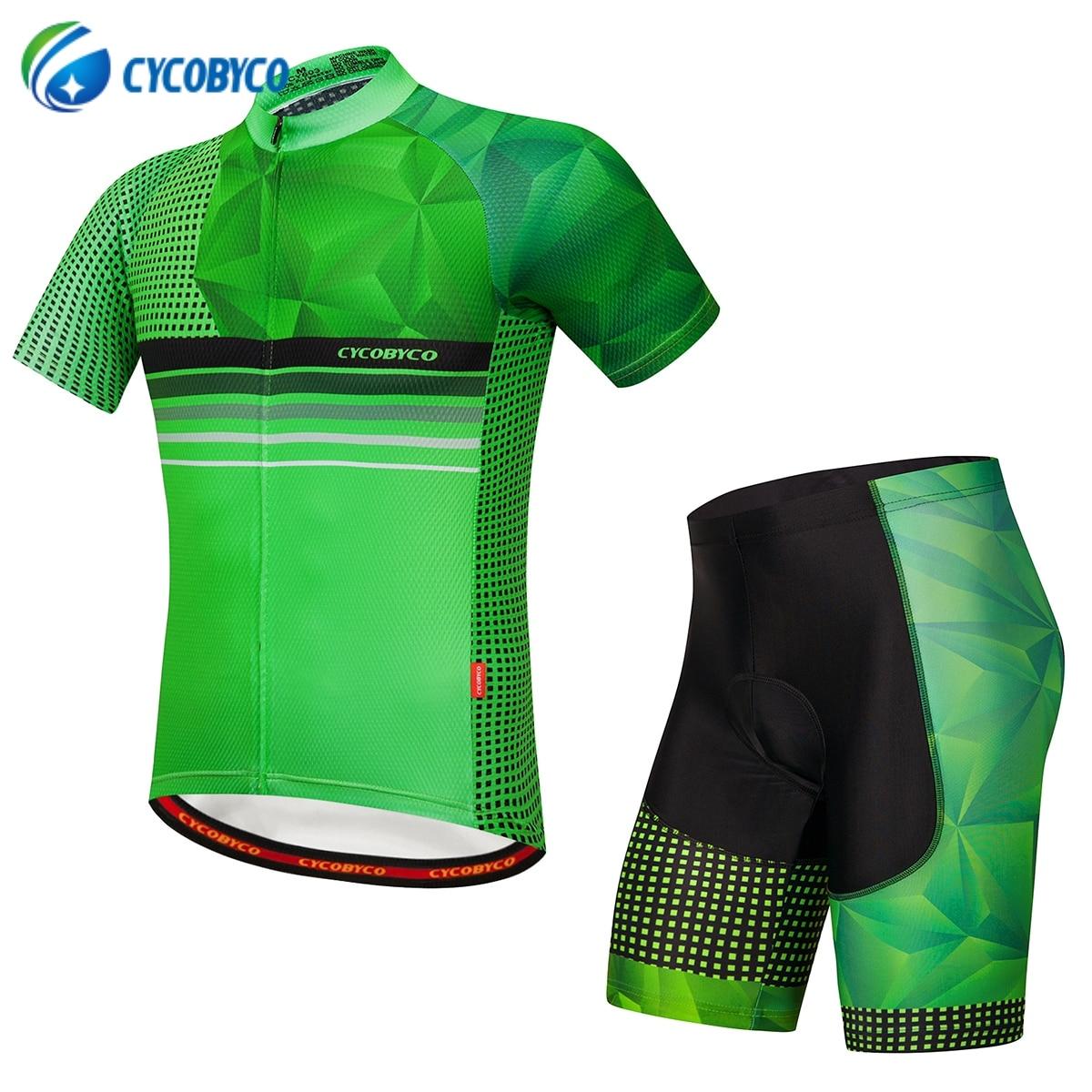 Cycobyco Radfahren Jersey Kurzarm Männer MTB Fahrrad Bekleidung Set Rennrad Fahrrad Shorts Gepolsterte Fluoreszenz Maillot Ropa Ciclismo