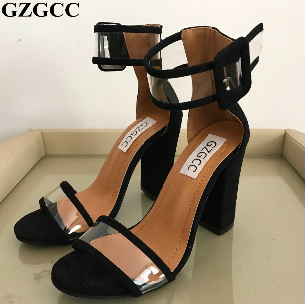 GZGCC ladies Sandalias ankle strap pumps girls wedding chunky High Heels Women Sandals summer shoes sexy woman