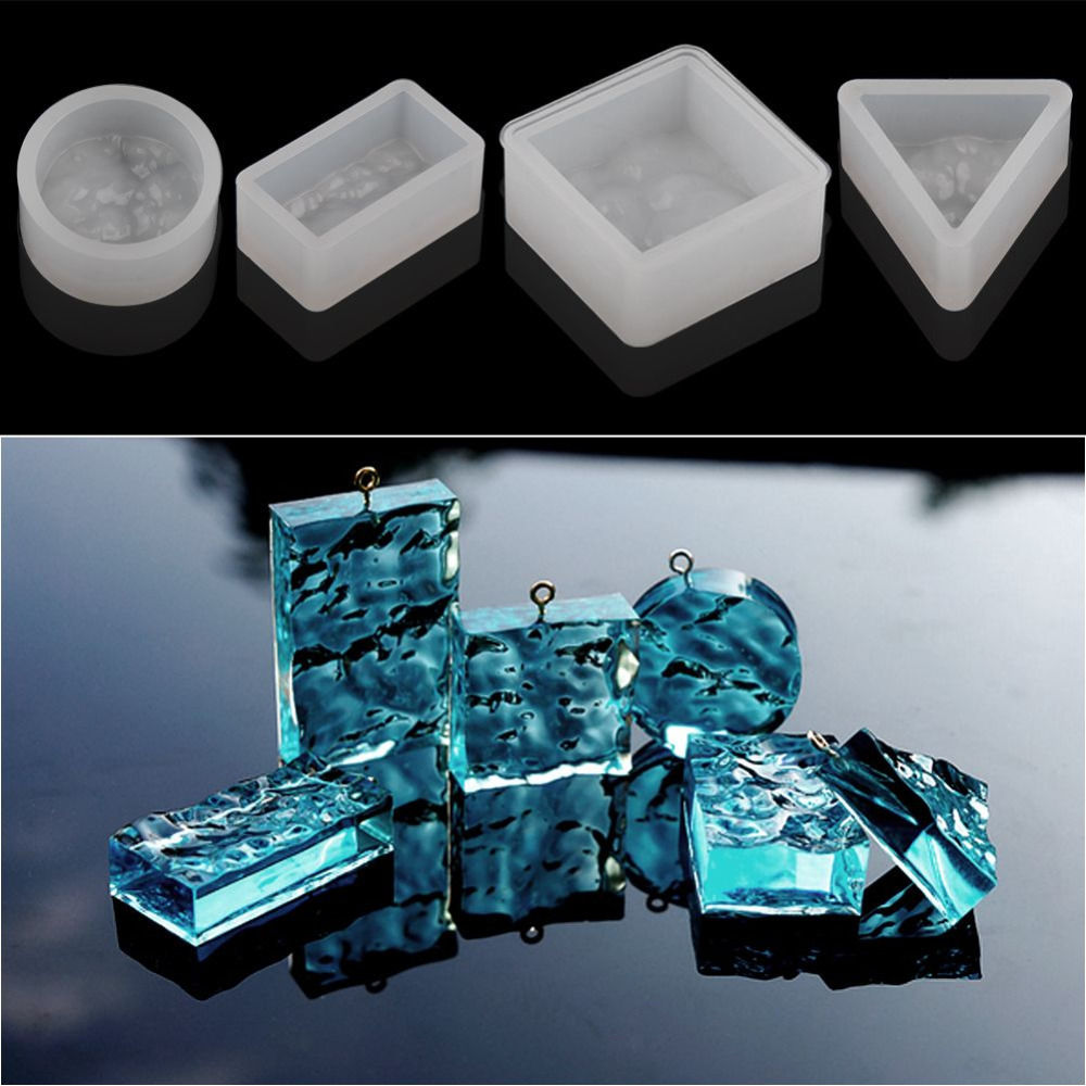 Double One Geometry Waterlines Shaped Pendant Mold DIY Silicone Resin Casting Jewelry Mo ...