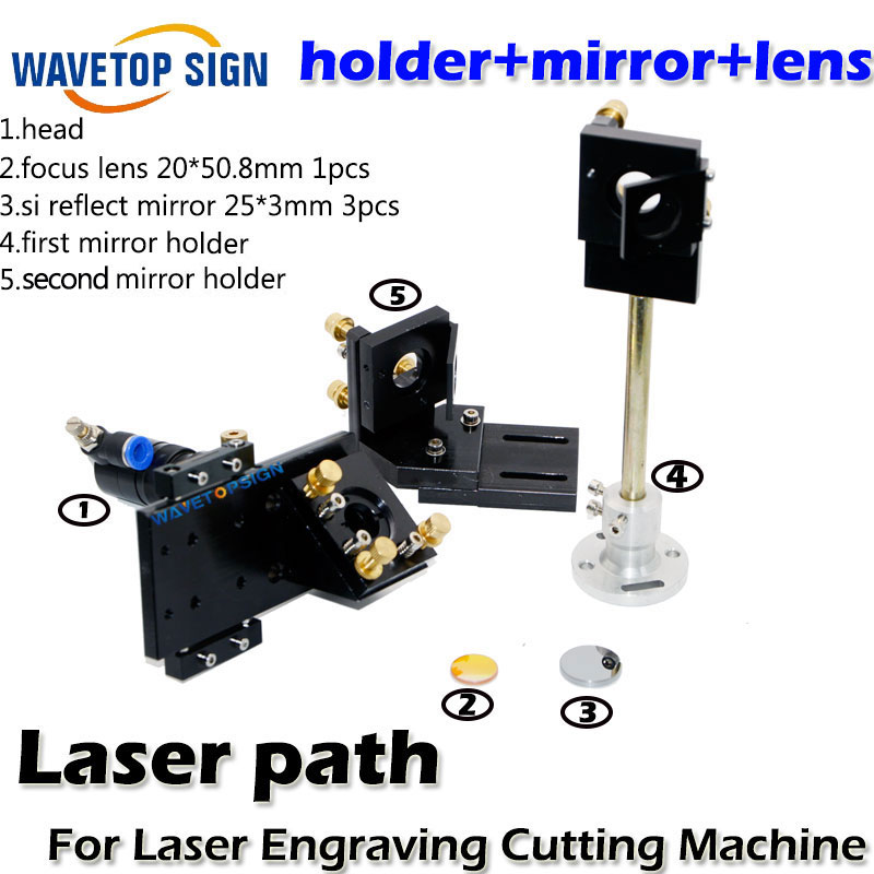 CO2 Laser Head Set Mirror 3pcs and Focus Lens  1pcs Integrative Mount Houlder for Laser Engraving Cutting Machine laser focus lens for laser welding machine spot welder co2 laser engraving cutting machine free shipping