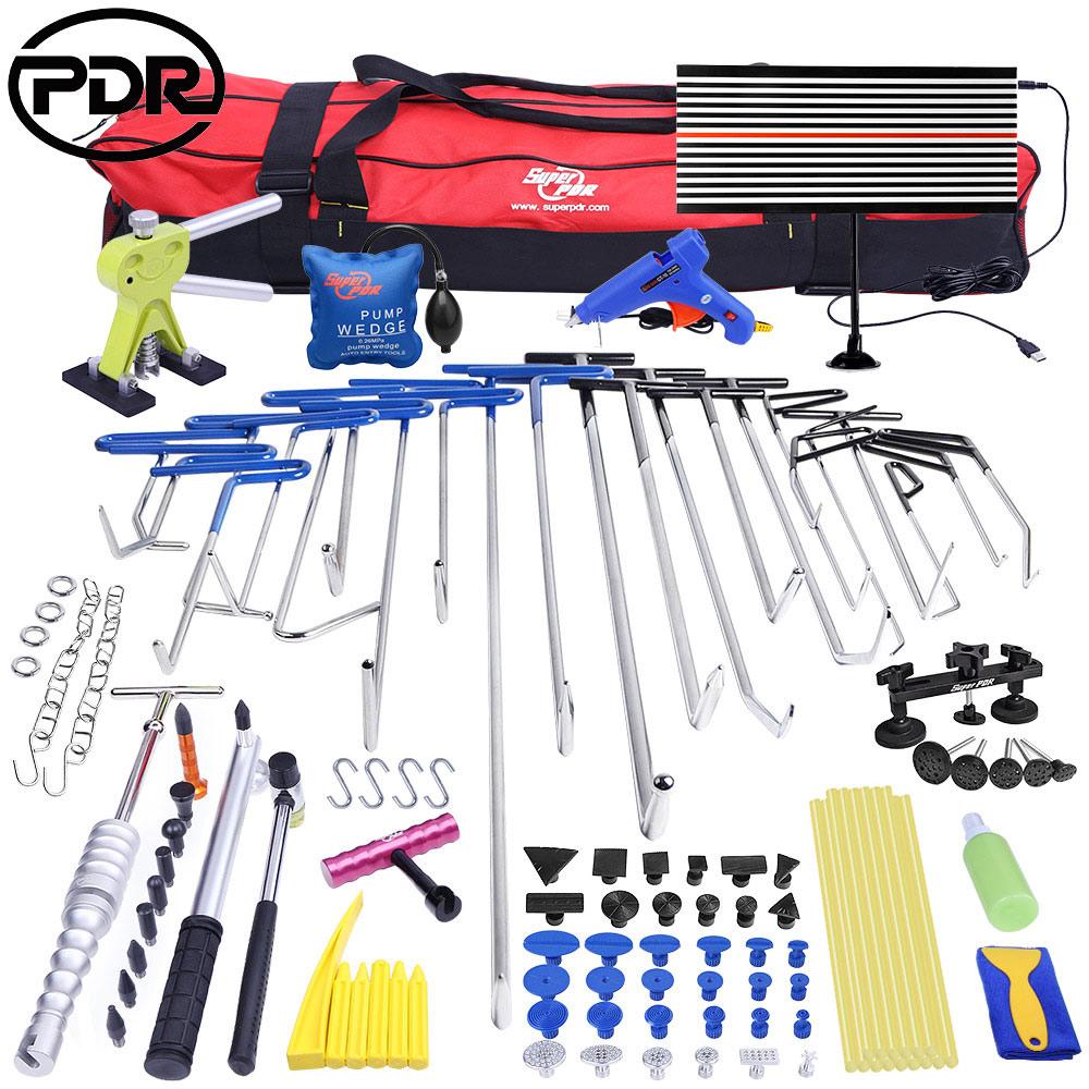 Paintless Dent Removal Tools Puller Lifter Push Rods Hail Repair Tools Set Bag