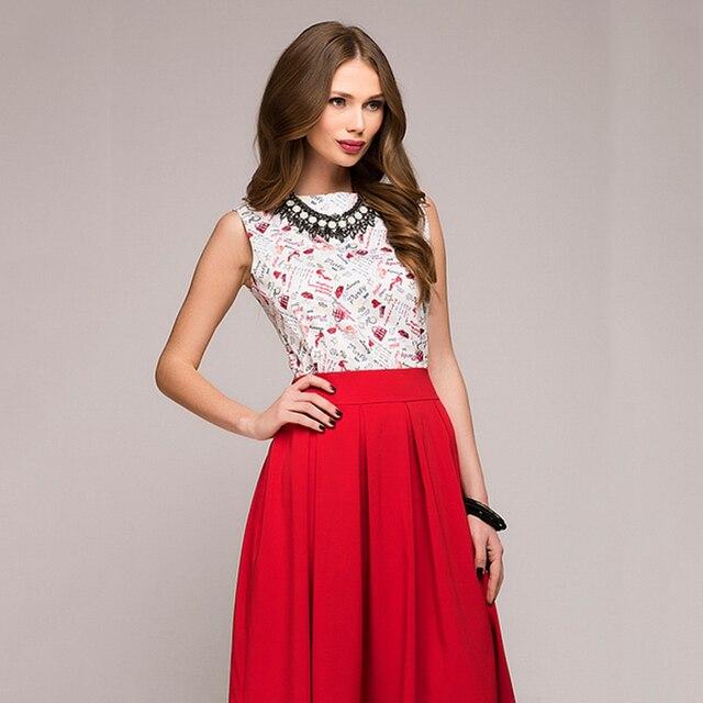 Fashion Printing A-Line Summer Dress Women Elegant Knee-Length ... d7f4ba3f22aa