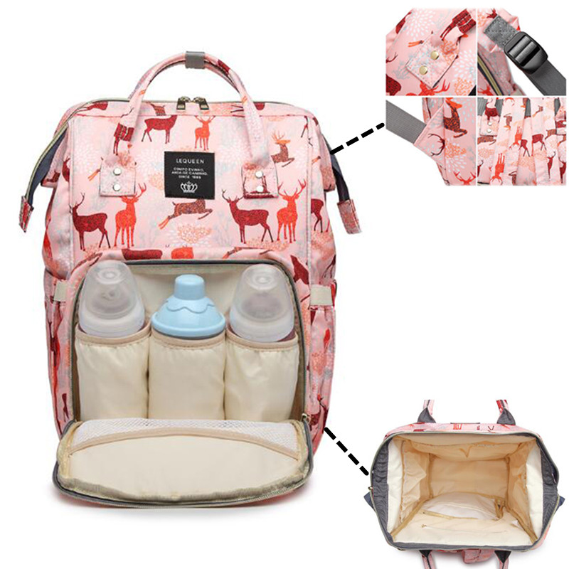 LEQUEEN-sacs à couches multifonctions 44cm | Sacs pour maman grande capacité, sacs à motif imprimé à la mode, sac à dos pour femmes enceintes à l'extérieur