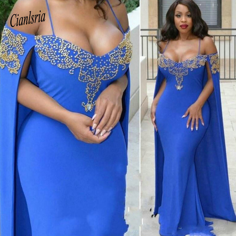 Royal Blue Mermaid   Evening     Dresses   Long 2019 cape sleeve Sexy Backless Floor Length arabic Formal celebrity Prom Gowns