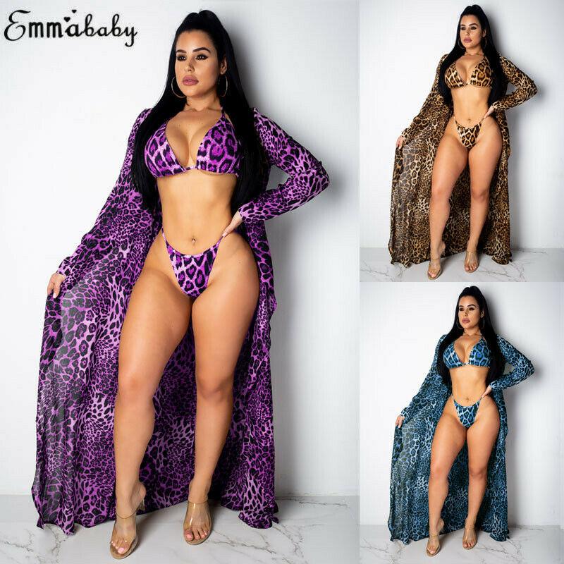 3pcs Women Purple Leopard Print Bikini Set Swimwear Long Sleeve Kimono Cover Up Cardigan Beach Bathing Dress Swimsuit Sets