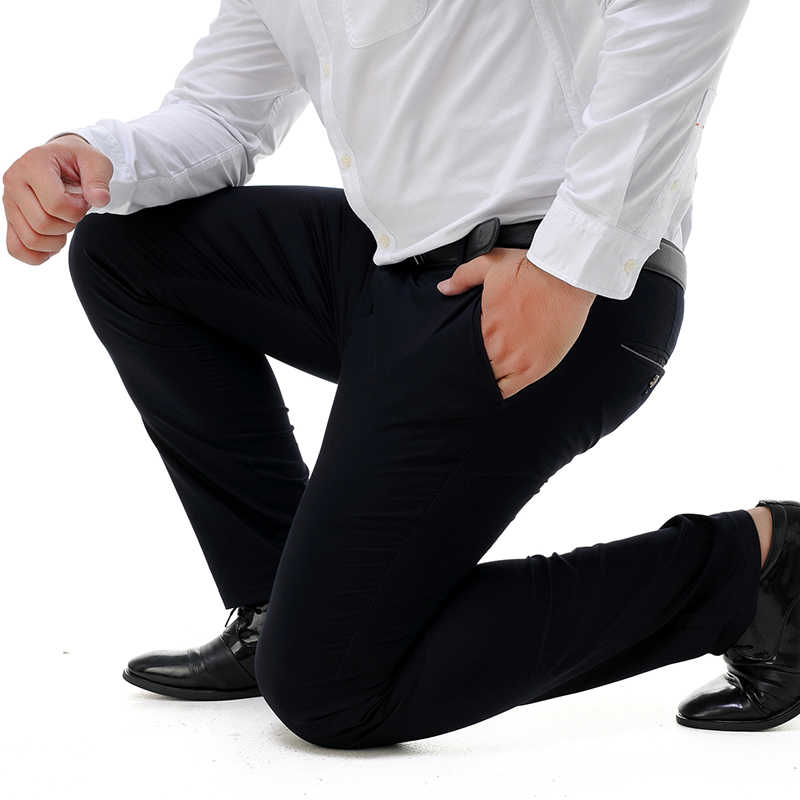 QUANBO, большие размеры 44, 46, 48, 50, 52, Мужские штаны, свободные от морщин, бизнес эластичные повседневные штаны, прямые, тонкие, модные мужские брюки