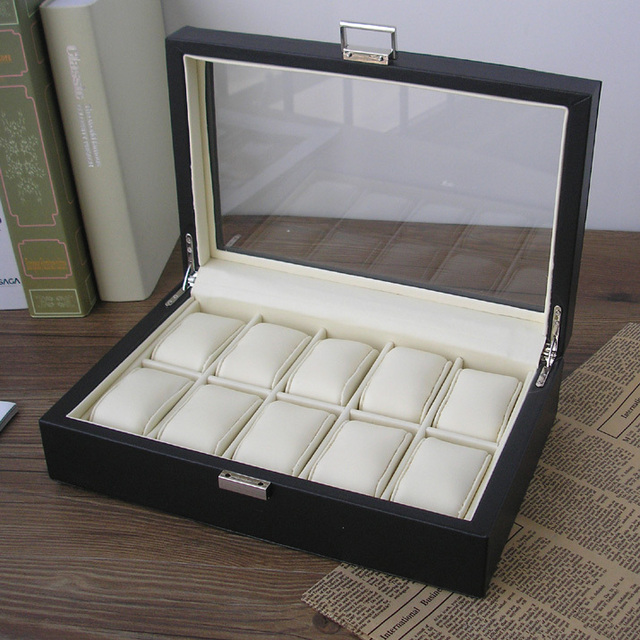 10 slot wood structure PU leather watch storage box display case