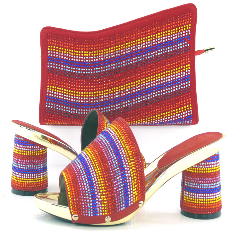 Fashion design italian shoes and matching bags for wedding Nigeria style African lady to match the