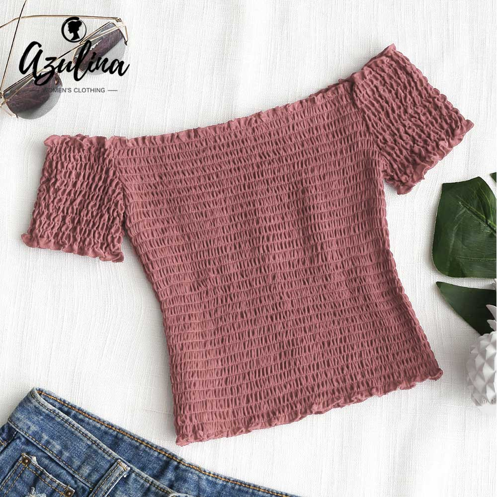 Azulina 6 Colors Smocked Off Shoulder Top Women Cropped Top Blouse