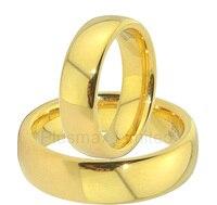 En iyi Çin titanyum takı fabrika yıldönümü altın renk basit düz düğün yüzükler çift