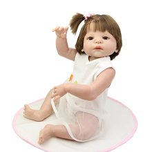 Collectible Reborn Baby Girl Full Body Silicone Vinyl 23 Inch Fashion Princess Girls That Look Real Children Birthday Xmas Gift