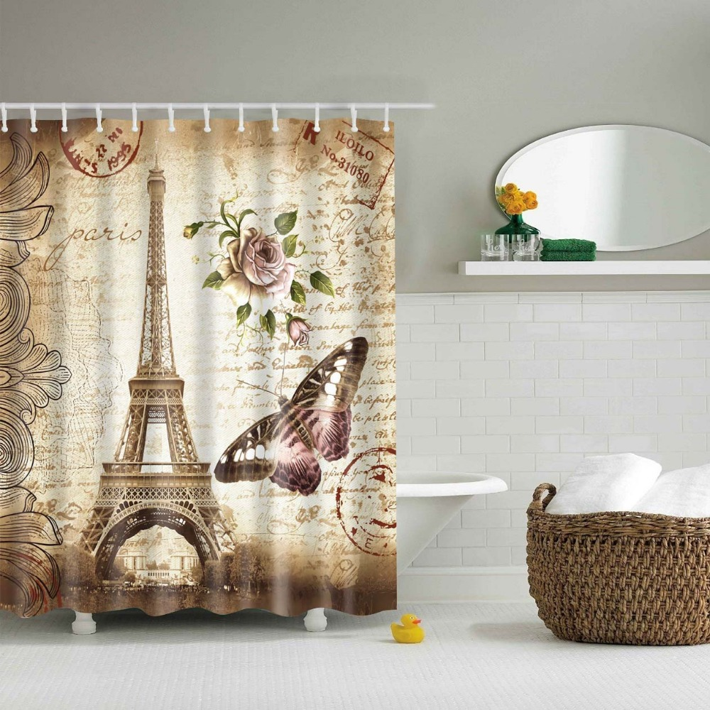 Vintage Tower Rose Shower Curtain Polyester Butterfly Flower Printed  Cortinas De Shower Curtain Rose(China