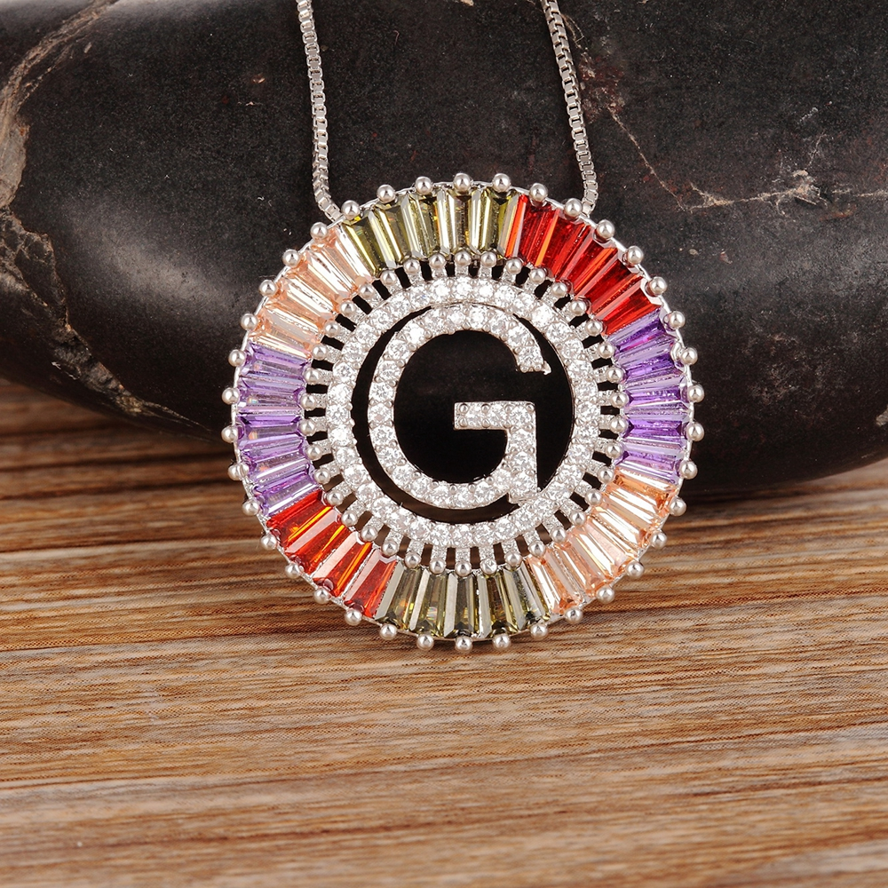 2019 Silver Copper Colorful Cubic Zirconia 26 English Letters Pendant Necklaces Women's Fashion Jewelry CZ Collier Femme Gift