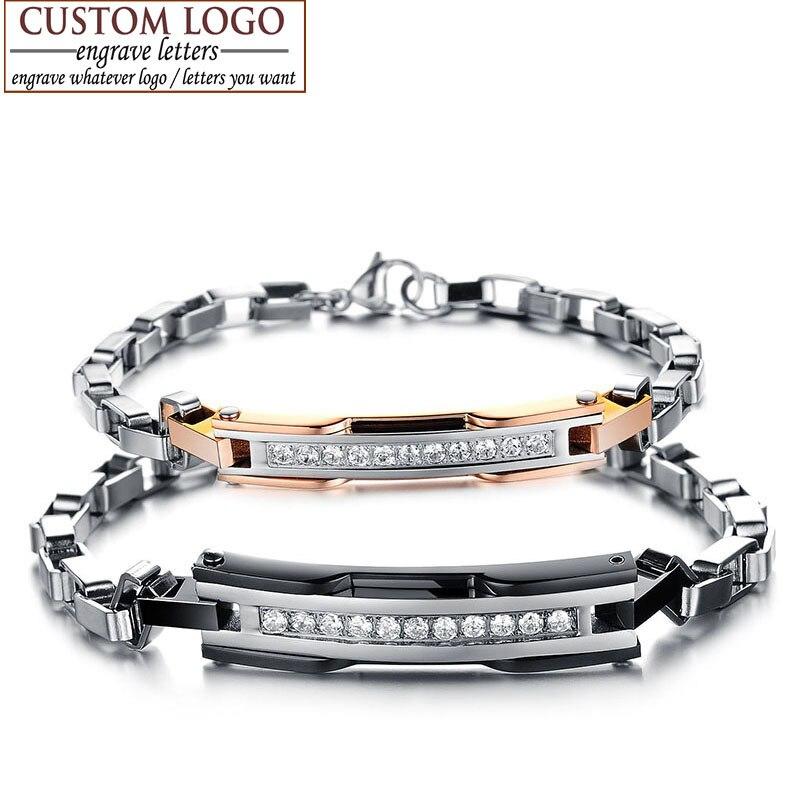 d44c9593ba4a Azizz BEKKAOUI cristal austriaco encantos pulsera para Mujeres Hombres  Acero inoxidable amor joyería pareja pulsera único