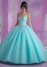 Ярко-розовый sweet anos quinceanera бисером бальное vestidos de синий платья платье
