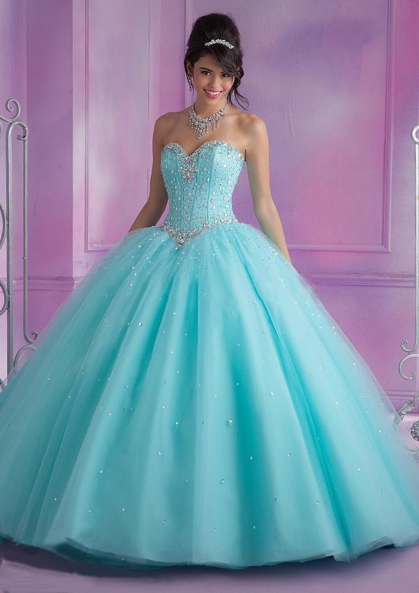 2016 Caliente Rosa Azul Vestidos de Quinceañera Balón vestido Con Cuentas barato Vestidos de Quinceañera Dulce