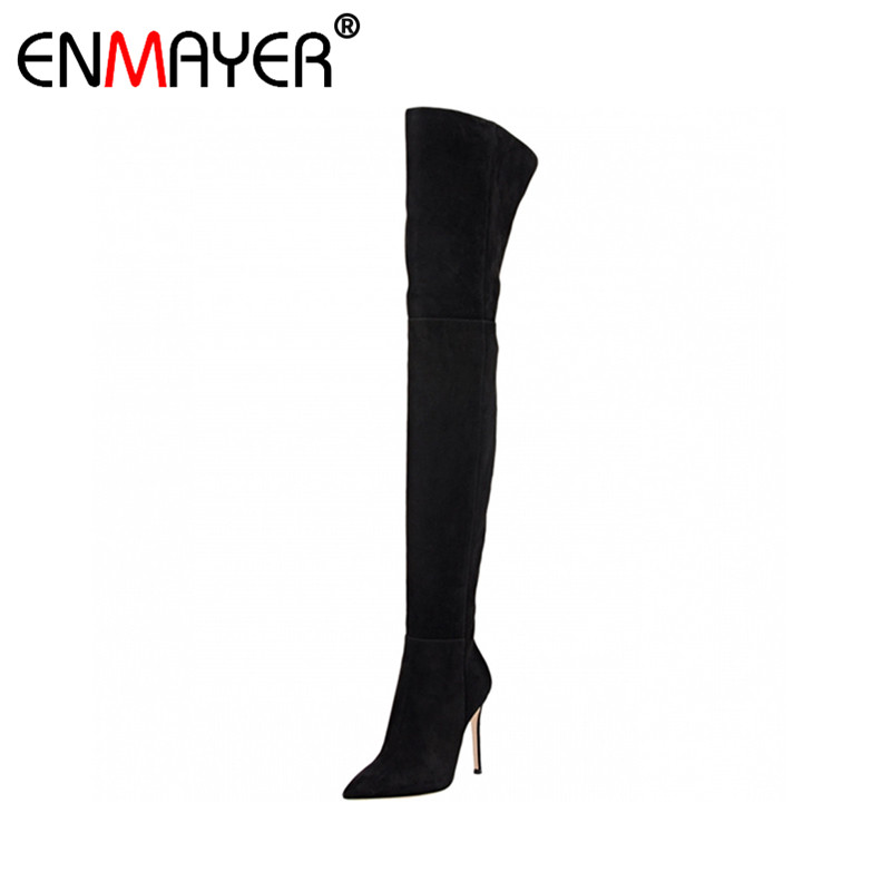 ФОТО ENMAYER Over-the-Knee Platform Extreme High Heels Thin Heels Flock Black Brown Women Party Shoes Spring Autumn Women Long Boots